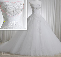 Wholesale New arrival Gorgeous A line Strapless Net Tulle Applique Lace up Chapel Train Wedding Dresses Bridal Ball Gown Wedding Dresses GA202