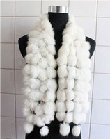 Wholesale 2013 Women s Fur Scarves Fur Ball velvet Rabbit Long style Woman Winter white Scarves