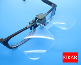 KIKAR Clip-and-Flip Optical Magnifying Lens 2x Power +4.00 Diopters Magnifier Loupe Handsfree Eyeglass Fly Fishing Tying Kit Low Vision Eyes