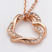 Wholesale Hot K Rose Gold GP Swarovski Crystal Pendant Necklace Gift N007