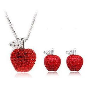 apple necklace. 2013 new full diamond red apple necklace set crystal earrings lady wife girlfriend birthday gift pendant necklaces \u0026 pendants jewelry online with