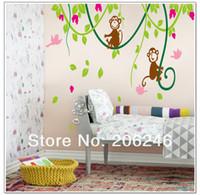 Calcomanías personalizadas extraíbles Baratos-Reproducción de monos y aves en la pared del cuarto de costumbre rattan- etiquetas del arte de la pared removible pared decoración pegatina de pared de vinilo pegatinas