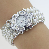 Wholesale Classical Quartz Watch Ladies stainless steel link chain Wrist Watch pearl Top Brand Watch