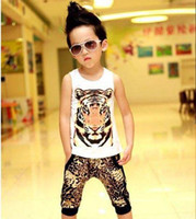 Wholesale Fashion Leopard Print Shorts Child Suit Kids Sets Boys Clothes Children Set Kids Suit Outfits Boys Tank Tops Harem Pants Sleeveless T Shirt