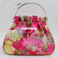 Wholesale Designer Evening Bags Handbag Silk Fabric Metal Clasp Tote Bag Purse mix color Free