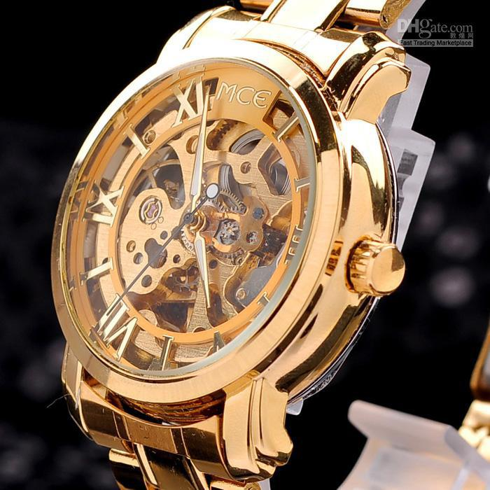 2013 gold watch mens skeleton mechanical fashion luxury watch 2013 gold watch mens skeleton mechanical fashion luxury watch stainless drop shipping mce 01 stainless steel wrist watches online shopping online wrist