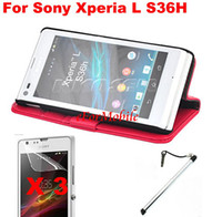 Wholesale Wallet Leather Flip Case Stand Book Cover Screen Protector Mobile Pen for Sony Xperia L S36H C2105 C2104
