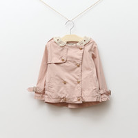 baby girl kids spring autumn long sleeve lace trench tench c...