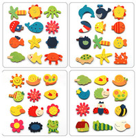 Wholesale 120pcs Children s wooden toys educational toys early childhood mental cartoon cute fridge magnet