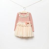 Baby girl kids princess long sleeve lace tutu dress cotton c...