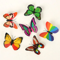 Wholesale 100 X5cm Colorful Three dimensional Simulation Butterfly Magnet Fridge Home Decoration