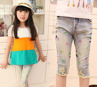 Christmas Girl 5T-6T Child Clothing Cropped Trousers Fashion Star Embroidered Jeans Kids Summer Shorts Blue Jeans Denim Shorts Children Casual Pants Ripped Jeans