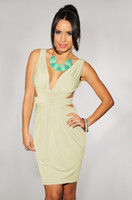 Wholesale Khaki Cut Out Back Padded Dress White Rose lingerie LC2796