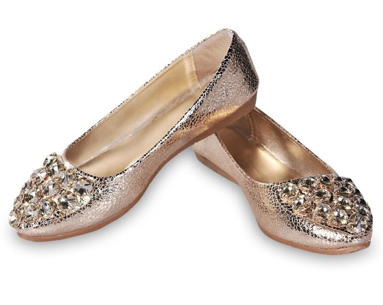 pairs New Women's/Ladies Girl Gold/Silver Slip on Smart Casual Shoes