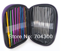 Wholesale HOT Stitches Knitting Craft Case Aluminum Crochet Hooks Needles Knit Weave
