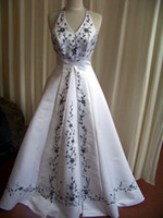 Wholesale 2013 White AND black embroidery custom new made vintage wedding dresses Bridesmaid Gown Pageant Prom Evening DRESS