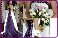 Wholesale 2013 Sexy Glamorous A Line Stunning White Purple Wedding dress Evening Dress Prom Ball Gown