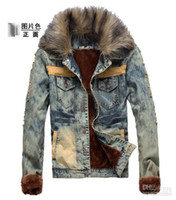 Wholesale 2013 HOT NEW Fashion Men s Cowboy Jacket Men Slim Fur Winter With Faux Fur Collar Plus velvet Cowboy Jacket Coat Outerwear nb