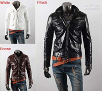 Wholesale 2013 HOT New Fashion Men s Slim motorcycle Multiple pockets stand collar PU Leather Jackets Coat Outerwear vb