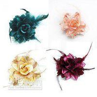 beak clips - 100PCS Fascinator fashion rose flower Pin Brooch with feather Hair Flower Brooch Beak Clip