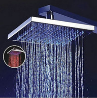 Wholesale 16 quot Big Square Color LED Chrome Finish Rainfall Shower Head With Arm FL65