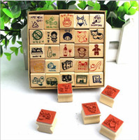 Wholesale new25 pieces travel life kraft boxed wooden stamp wooden stamp picture