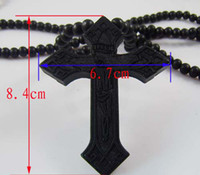 Wholesale WOOD Necklace GOOD NYC Hip Hop Color Cross PENDANT CHAIN Beaded rosary jewelry Factory Cheap Price C0659
