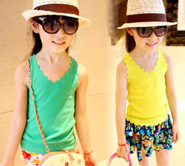 Wholesale Children Tank Tops Girls Condole Belt Kids Summer Wavy Edge Casual Vests Sleeveless T Shirt Child Clothing Fashion Candy Color Tank Tops