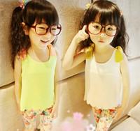Wholesale Fashion Candy Color Chiffon Tank Tops Kids Summer Wavy Edge Casual Vests Sleeveless T Shirt Children Tank Tops Girls Condole Belt Child Wear