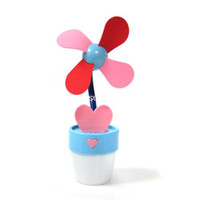 Wholesale Multifunctional pot lights Cute mini fan small fan usb battery led Night light lamp