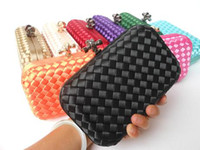 Wholesale Evening bag clutch bag new fashion wedding dress ladies handmade woven silk clutch bag colors optional