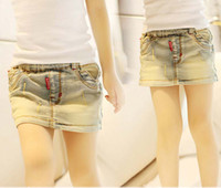 Wholesale Fashion Mini Skirt Girl Clothes Blue Denim Skirts Kids Wear Girls Summer Skirt Children Casual Short Skirts Ripped Jean Skirt Child Clothing