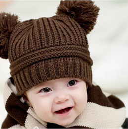Wholesale New Arrival Baby Child Autumn Winter Double Ball Lovely Bear Design Knitted Warm Boy Girl Hat Caps