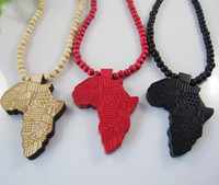wood africa factory - Hip hop Necklace Wooden Hand drawn GOOD WOOD NYC Map of Africa Beaded rosary jewelry colors Factory Cheap Price C0667