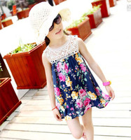 Wholesale Fashion Princess Dress Children Clothing Girls Cute Flower Dresses Kids Summer Dress Jumper Skirt Child Lace Embroidered Dresses Blue Dress
