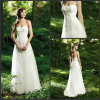Floor-Length Organza Model Pictures 2013 Beach Wedding Dresses Casual Custom Made Modern Satin Sweetheart Appliques Empire Floor Length Wedding Dress Bridal Gown Online