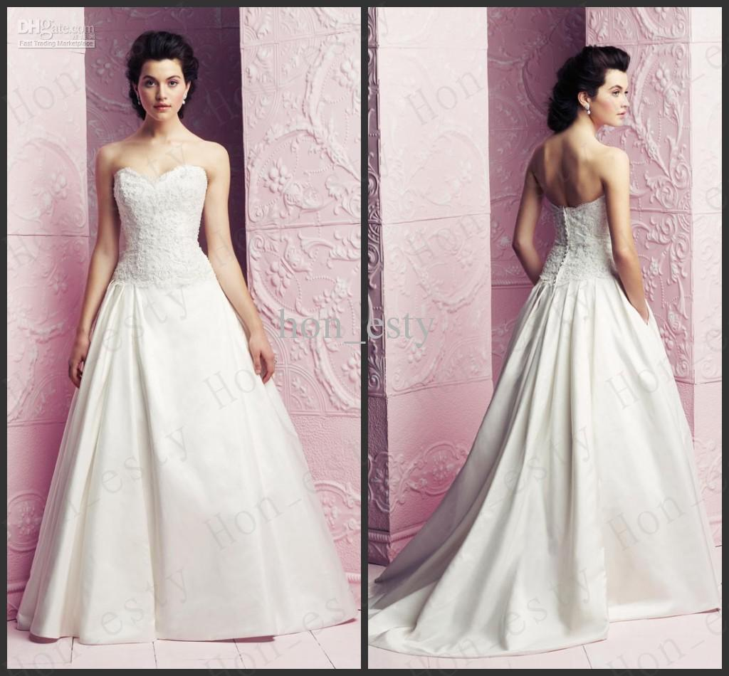 Line beautiful wedding dresses satin lace sweetheart covered buttons