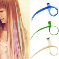 Wholesale New quot Straight Colored Colorful Clip On In Hair Extension Hair Colors