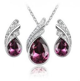 La joyería de alto grado coreana determinada de la joyería de la manera del sistema cristalino al por mayor / necklace + earrings perfora la joyería de destello para las mujeres LM_S022 fijaron