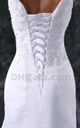 Wholesale Alluring V Neck Ruches Chiffon Lace up A Line White Party wedding Bridemaid dresses Ball Gown available Q689