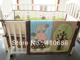 Wholesale New Embroidered Tortuls Frog Tree Baby Crib Nursery Bedding Set items Including Crib Quilt Bumper Sheet Skirt For boy