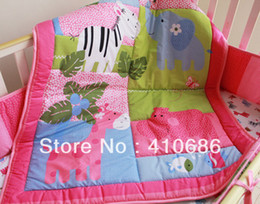 Wholesale New Pink Animals Girl Baby Crib Cot Bedding Sets items Including Learning Quilt Bumper Sheet