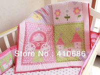 Wholesale New Pink Castle Flower Nursery Baby Crib Bedding Set items Quilt Bumper Sheet crib skirt Diaper Stacker