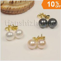 Women's wholesale akoya pearls - 3 piece AAA mm Cultured freshwater akoya pearl earrings