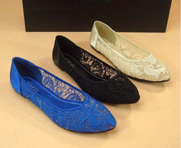 Bud Silk Embroidered Mesh Point Flat shoes For Women's Shoes Flat With The Shoe Lace Hollow out network