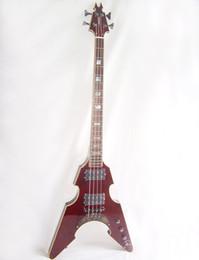 Wholesale New Brand V bass guitar maple veneer crimson stripes