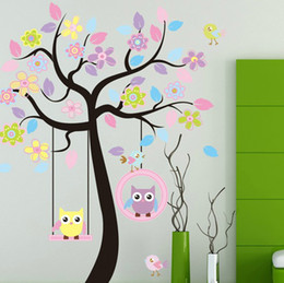 "Freeshipping! Extra large 63"" x 67"" Flower Tree & Owls Swing Removable Wall stickers Decor Decal Mural Children Nursery Wall Decor Kids Room"
