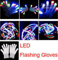 Wholesale 2015 new Halloween christmas hot selling LED flash gloves Dancing glow gloves Concert noctilucent gloves Flash gifts