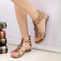 Wholesale promotion summer new women sexy fashion lovely shoes Bohemian gemstone beaded sandals flat shoes V8232