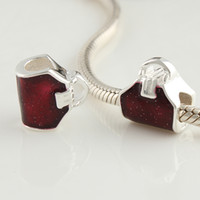 Wholesale african beads wine red silver charm bead new style of sterling silver fit bracelets enamel bead charm DY047
